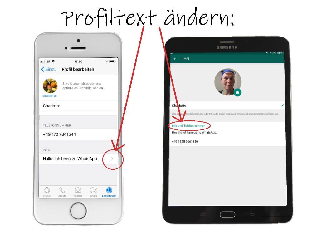 WhatsApp Profil: Statustext ändern