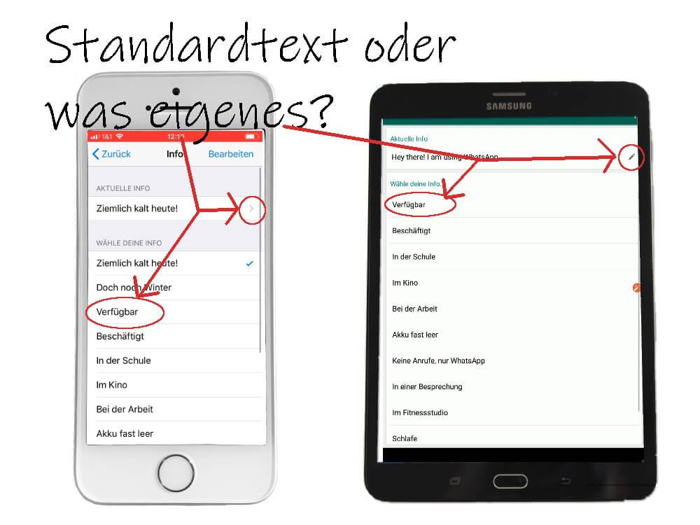 WhatsApp Profil: Statustext ändern, 2