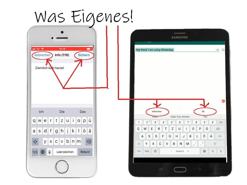 WhatsApp Profil: Statustext ändern, 3