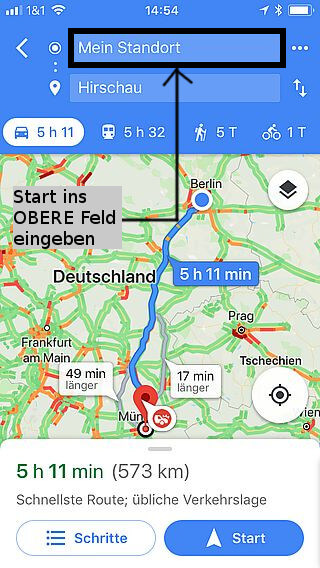 Handy-Navigation: Routing, Google 5a