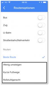 Google-Maps: Optionen ankreuzen