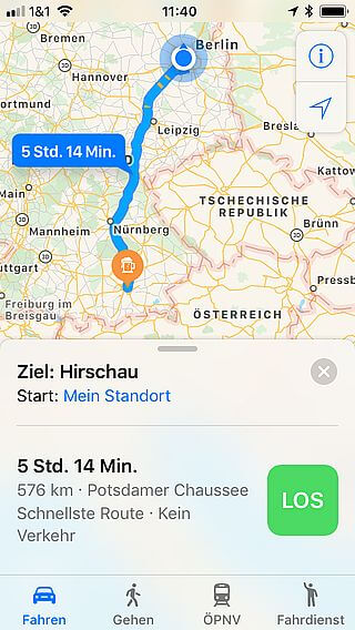 Handy-Navigation Routing mit Apple 05