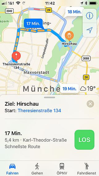 Handy-Navigation Routing mit Apple: 9