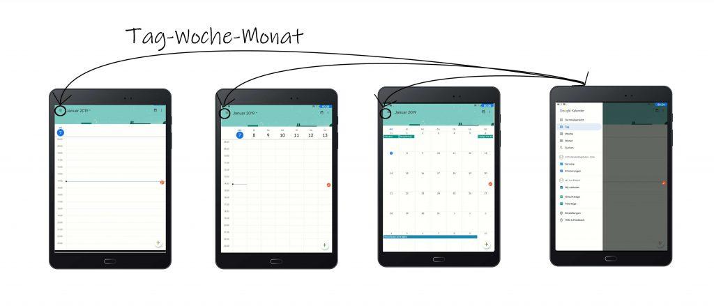 Google-Kalender-App: Tag-Woche-Monat