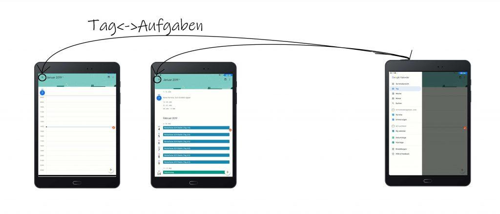 Google Kalender-App: Tag-Aufgaben