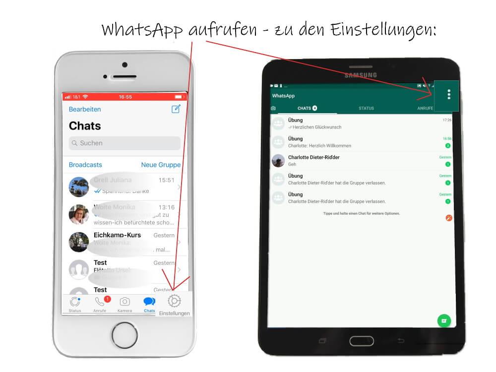 WhatsApp: zu den Einstellungen