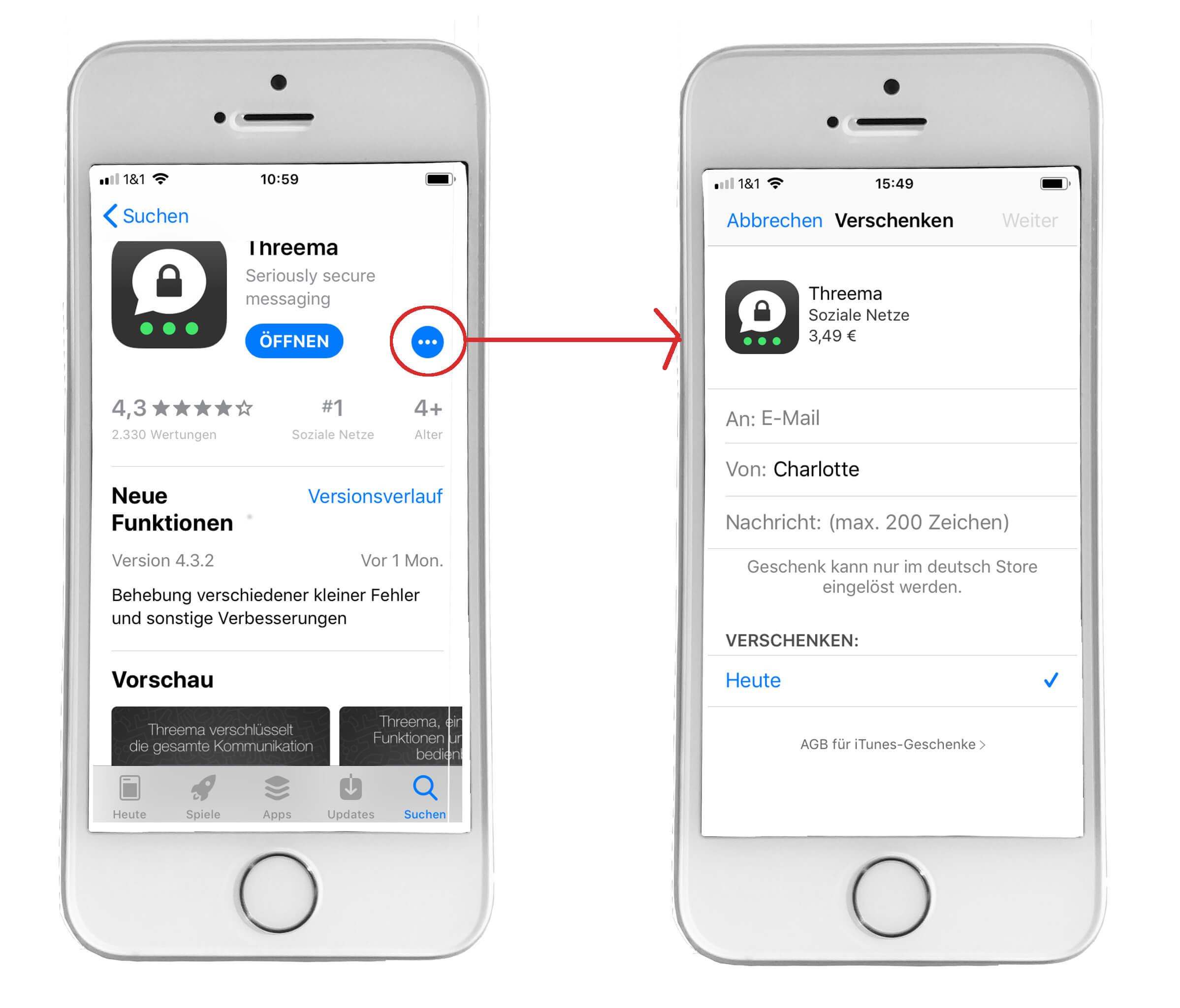 Threema installieren: verschenken unter iOS