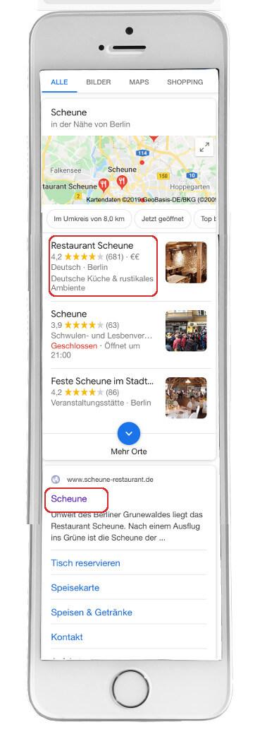 Google suchergebnis